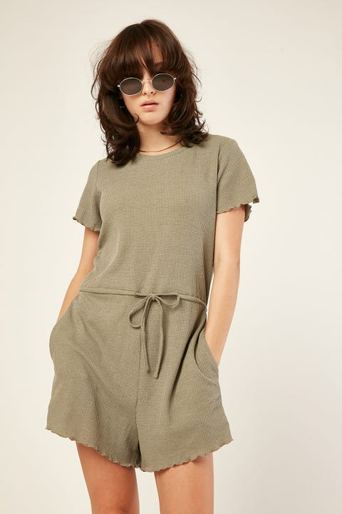 LUCK & TROUBLE Free Spirit Playsuit Green