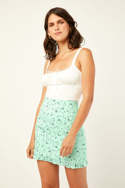 LUCK & TROUBLE Island Time Mini Skirt Green Print