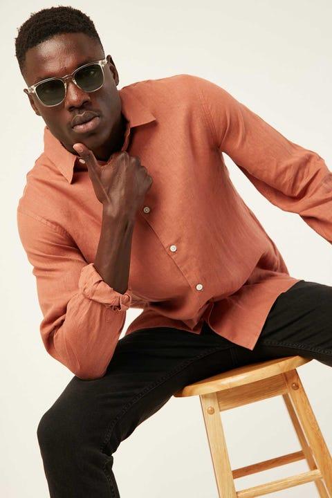 ASSEMBLY Casual Long Sleeve Shirt Auburn