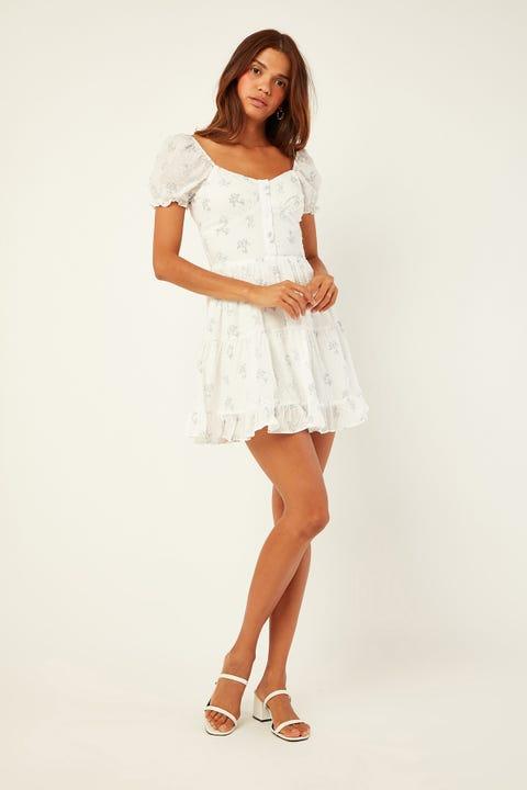 LUCK & TROUBLE Vintage Soul Dress White Print