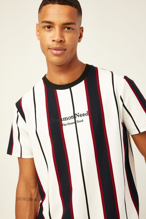 COMMON NEED Milano Vertical Stripe Tee Black/White/Red