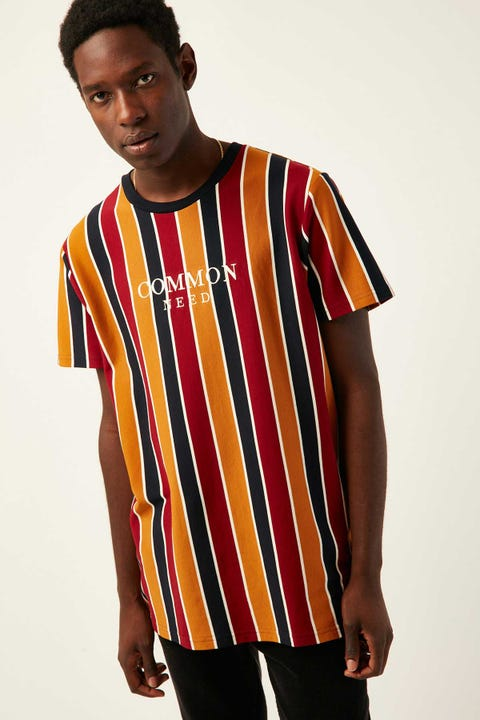 Common Need Amsterdam Vertical Stripe Tee Navy/Burgundy/Mustard