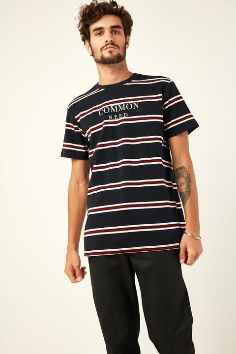 COMMON NEED Venice Stripe Tee Navy/White/Red