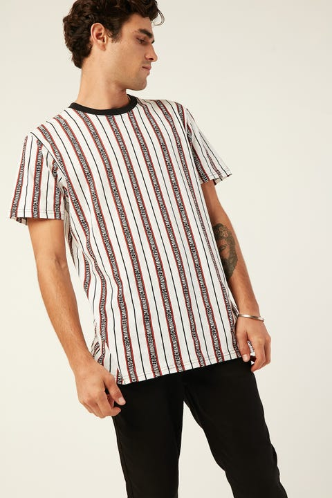 Common Need Premier Logo Stripe Tee White/Red/Black