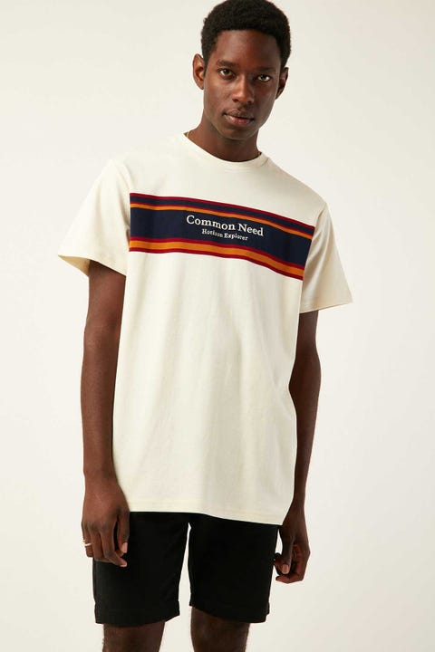 COMMON NEED Drift Panelled Tee White Stripe