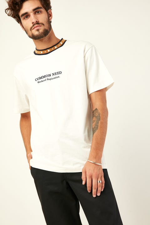 COMMON NEED Triangle Ringer Tee White