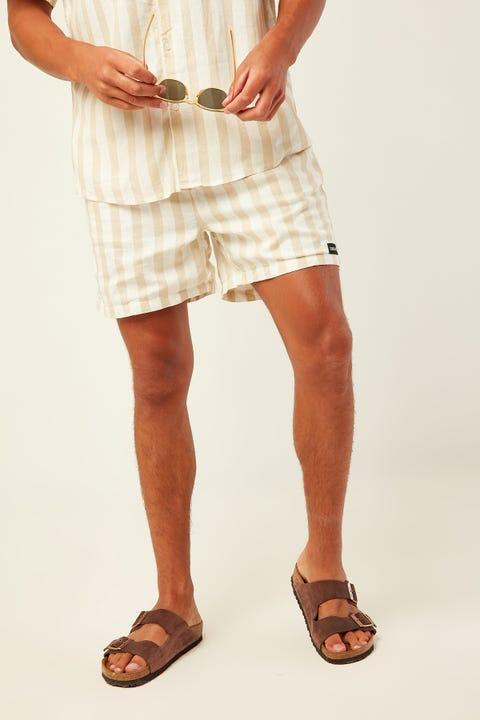 COMMON NEED Villa Soft Linen Cruise Short Tan Stripe