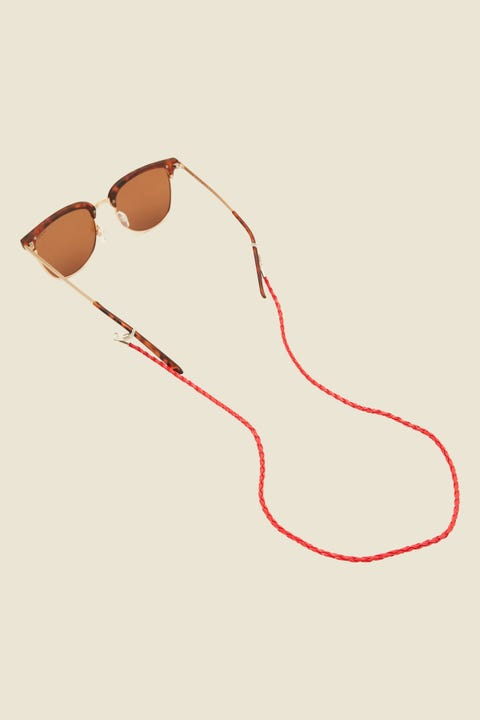 LE SPECS Braided Leather Sunglasses Cord Red