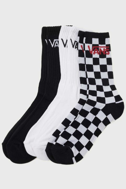 Vans Classic Crew 3 Pack Black/Checkerboard