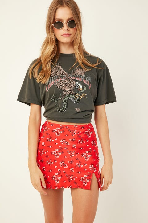 LUCK & TROUBLE Charlie Slip Skirt Red Print