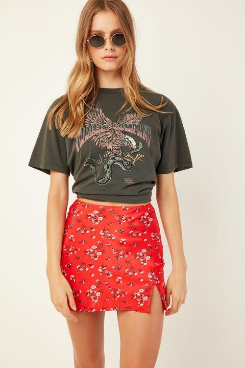 Luck & Trouble Charlie Slip Skirt Red Print