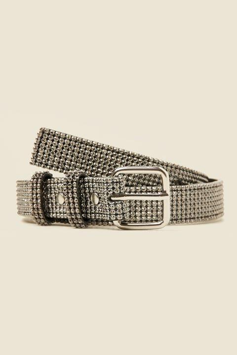 TOKEN Statement Diamante Belt Silver