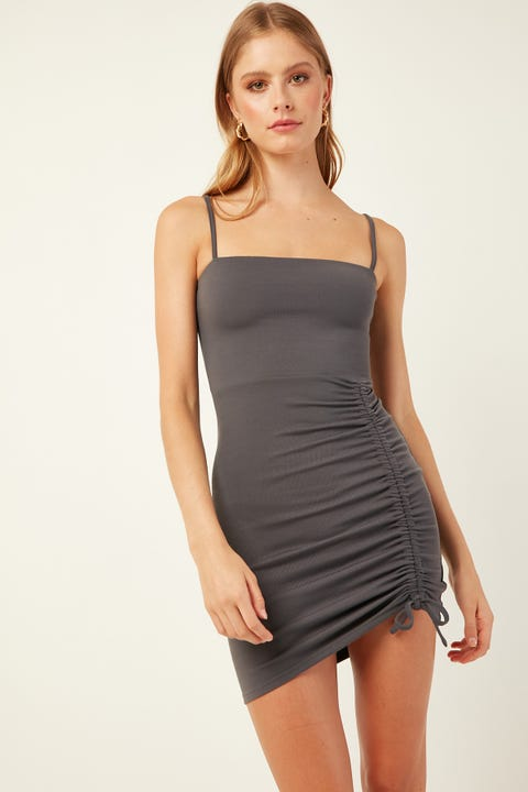 PERFECT STRANGER Caribbean Mini Dress Charcoal