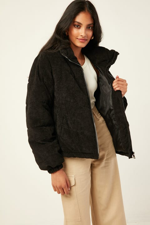 LUCK & TROUBLE Puff Cord Jacket Black