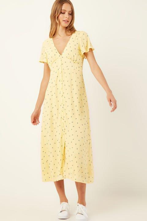 PERFECT STRANGER Tulip Floral Midi Dress Yellow Print