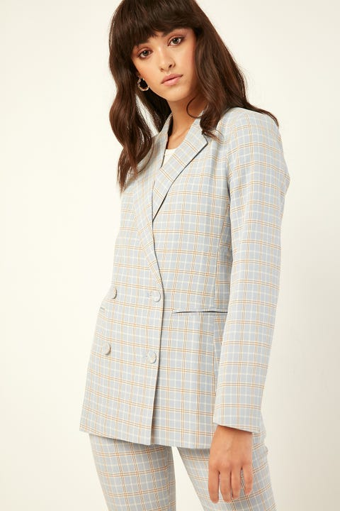 PERFECT STRANGER Candy Check Blazer Blue Print