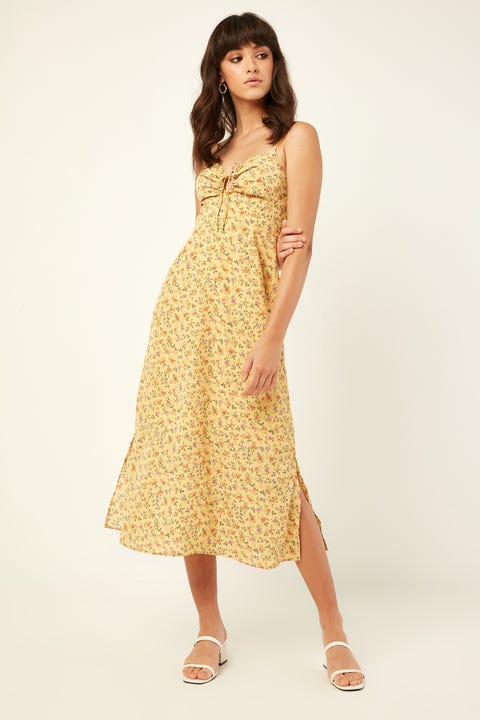 PERFECT STRANGER One Dance Midi Dress Yellow Print