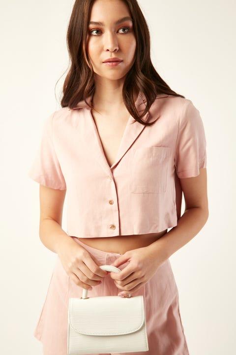 PERFECT STRANGER Crop Resort Shirt Pink