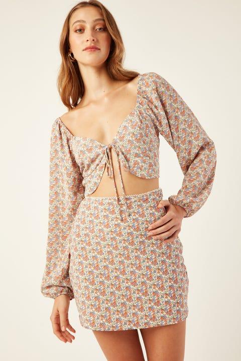 LUCK & TROUBLE Yasmine Mini Skirt White Print