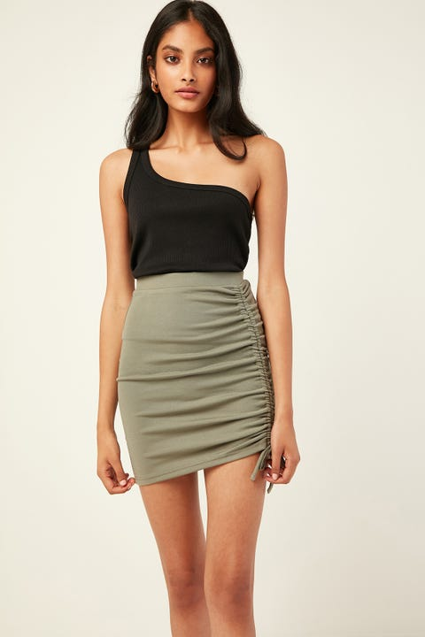 LUCK & TROUBLE Cuba Mini Skirt Khaki