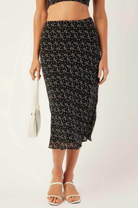 PERFECT STRANGER Walk Alone Midi Skirt Black Print