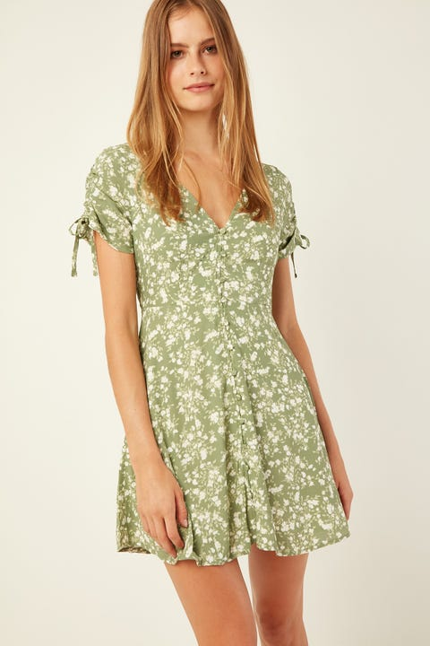 LUCK & TROUBLE Gisele Mini Dress Green Print