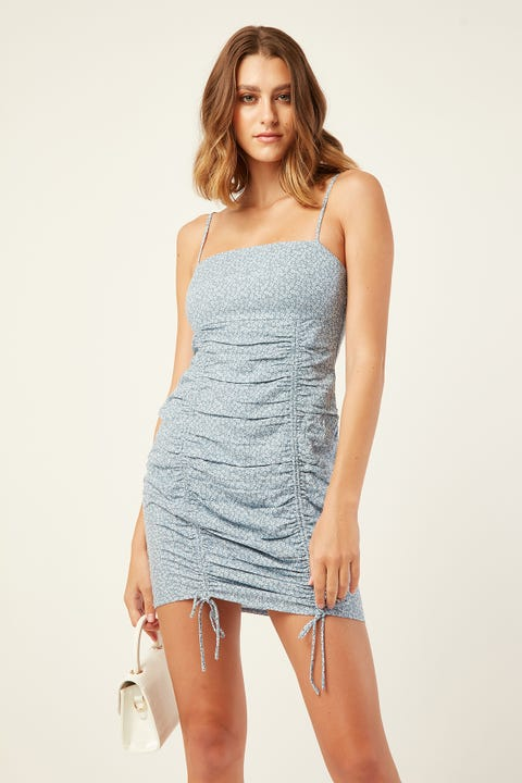 LUCK & TROUBLE Poolside Mini Dress Blue Print