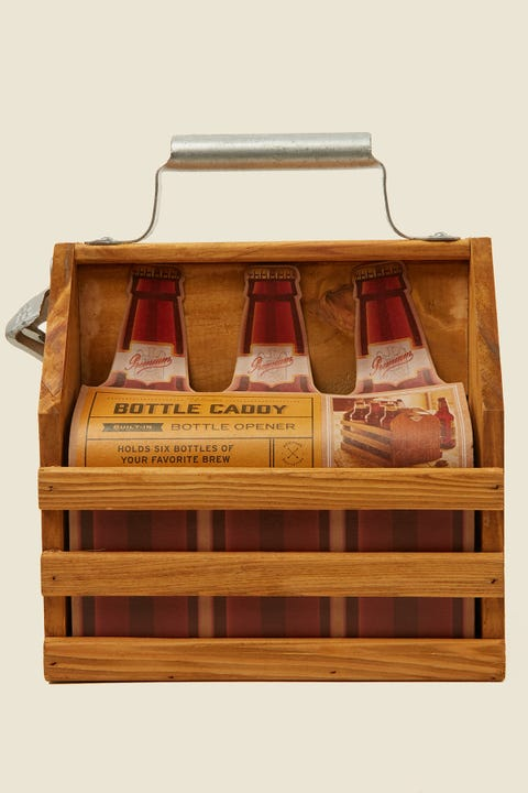 Refinery And Co Wood Bottle Caddy With Opener