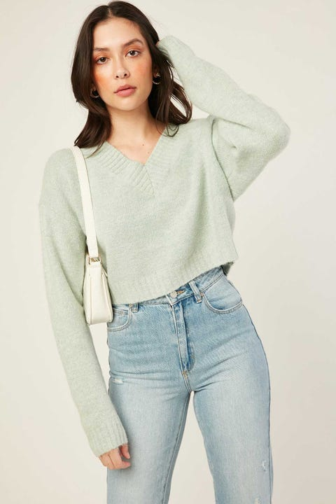 LUCK & TROUBLE Vera Cropped Sweater Sage