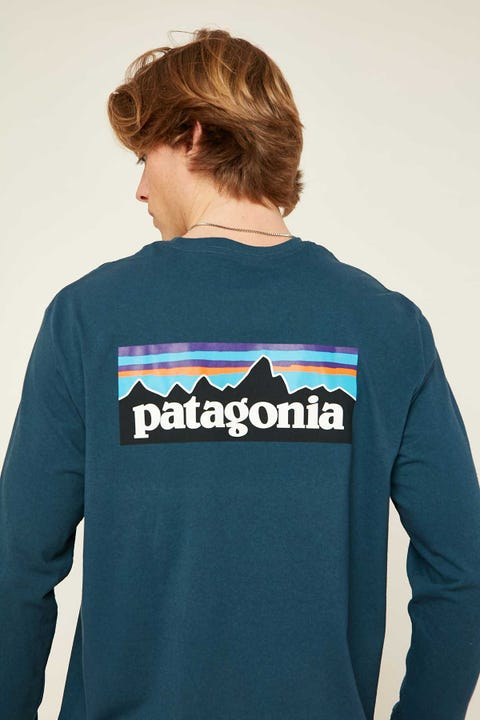 PATAGONIA M's P-6 Logo LS Tee Crater Blue