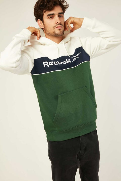 Reebok CL F Linear Hoodie Chalk Vector Navy Utility Green