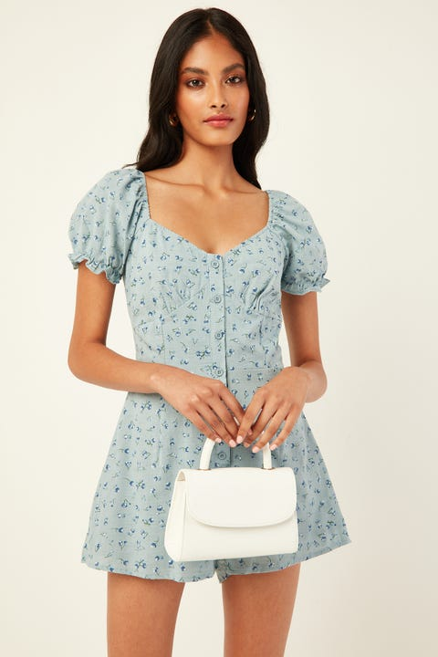 LUCK & TROUBLE Sweet Roses Playsuit Blue print
