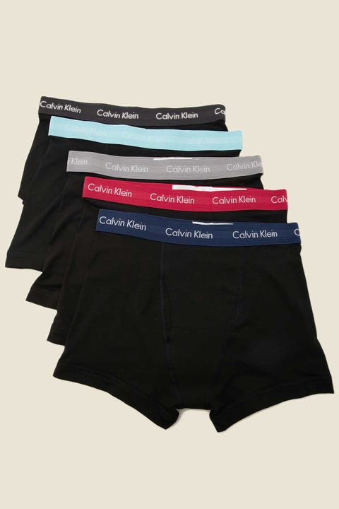 CALVIN KLEIN New Cotton Stretch LR Trunk 5 Pack Black With California Poppy/River
