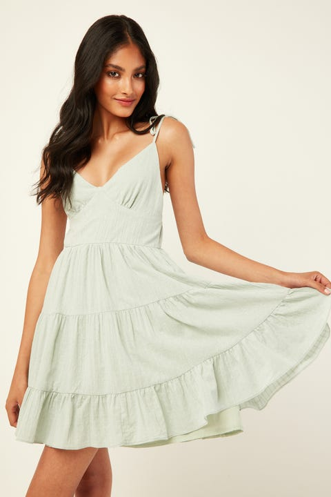 LUCK & TROUBLE Evie Tiered Mini Dress Sage