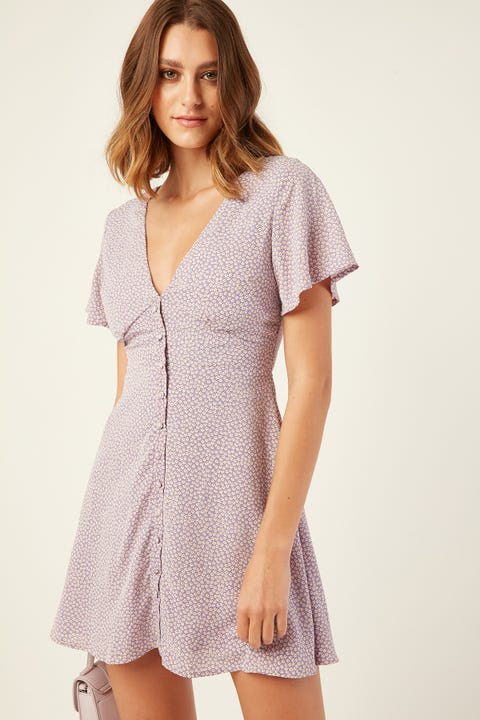 PERFECT STRANGER Graceful Mini Dress Purple Print