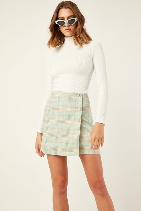 LUCK & TROUBLE Missy Check Skirt Green Print