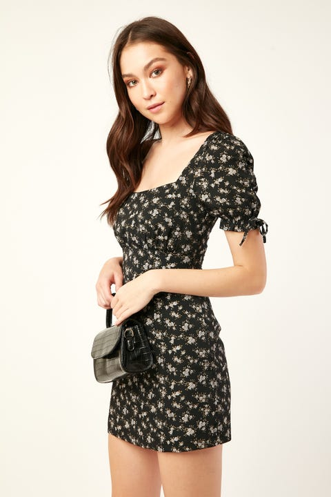 PERFECT STRANGER Paradiso Mini Dress Black Floral