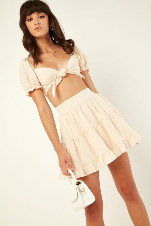 LUCK & TROUBLE Fifi Mini Skirt Cream