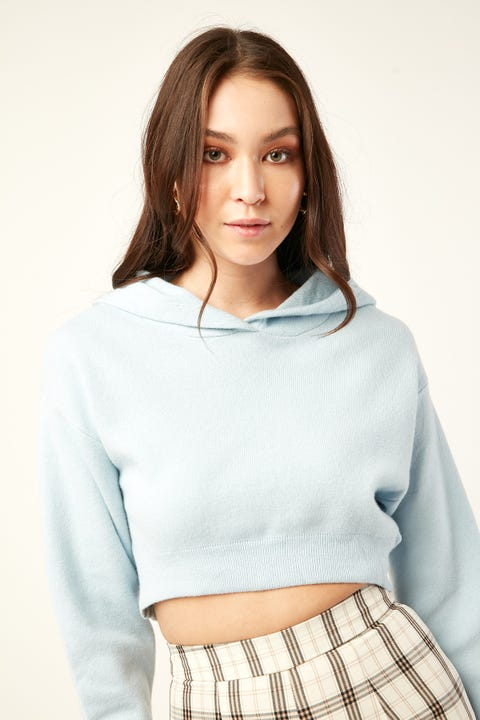 LUCK & TROUBLE Hooded Cropped Sweater Blue