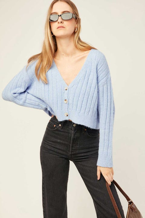 Luck & Trouble Cozy Cropped Cardigan Blue
