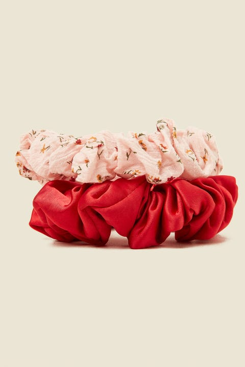 TOKEN Large Scrunchie 2PK Pink Floral & Red Satin