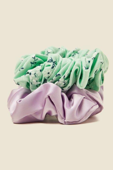 TOKEN Large Scrunchie 2PK Mint Floral & Lilac Satin
