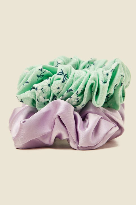 TOKEN Large Scrunchie 2PK Mint Floral & Lilac Satin
