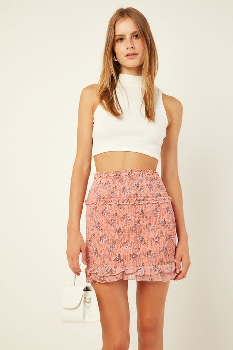 LUCK & TROUBLE Frilly Shirred Skirt Pink Print
