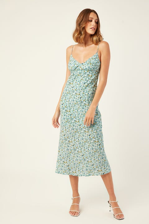 LUCK & TROUBLE Better Place Midi Dress Blue Print
