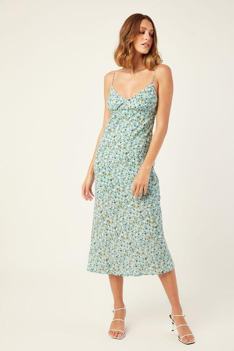 LUCK & TROUBLE Better Place Midi Dress Blue Print