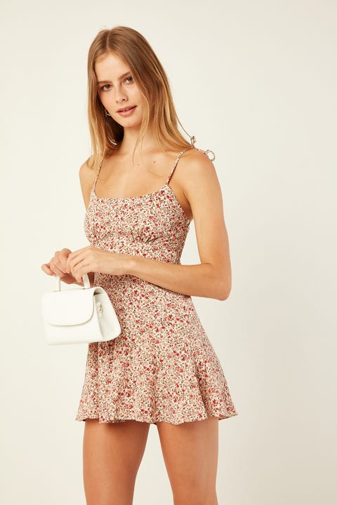 LUCK & TROUBLE Summer Shimmy Playsuit Cream Print