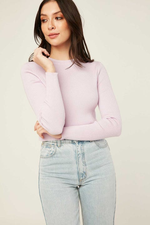 Luck & Trouble Arlo Cropped Knit Top Purple