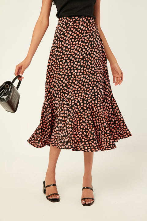Perfect Stranger Mamacita Midi Skirt Black Print