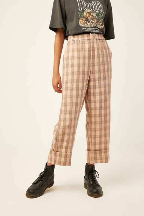 LUCK & TROUBLE Houston Check Pant Pink Print